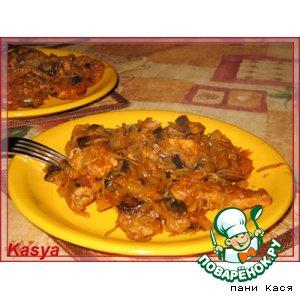 Рецепт Капуста со свининой и грибами