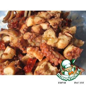Рецепт Закуска   из   осьминога   в   чесночном   соусе  с   белым   вином