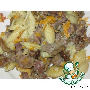 Готовим Куриные желудочки с грибами и макаронами вкусный пошаговый рецепт с фотографиями