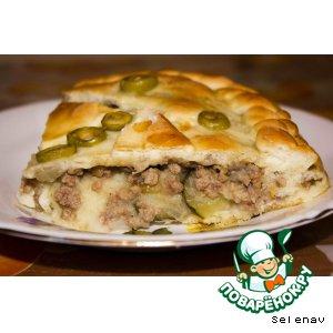 Рецепт Пирог с картошкой, фаршем и солеными огурчиками
