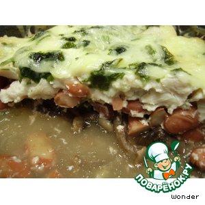 Рецепт Горячий салат с курицей, грибами и фасолью