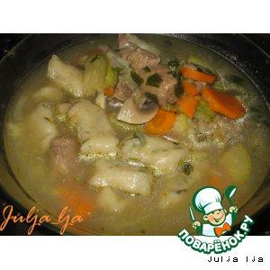 Рецепт Густой суп с овощами и клeцками