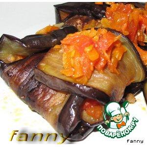 Рецепт Баклажановые конвертики с овощной начинкой