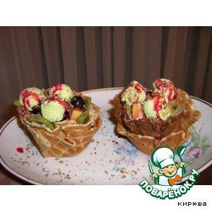 Рецепт Десертные тарталетки с фруктами и фисташковым мороженым