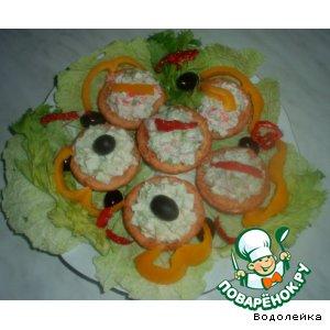 """Рецепт Закусочные тарталетки """"Три салата"""""""