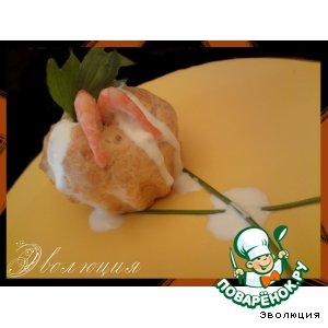 Рецепт Тарталетки «Креветки на омлетном облачке»