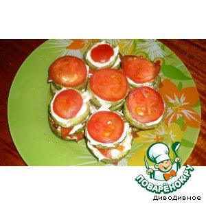 Рецепт Кабачки, жареные с чесночным соусом и помидорчиком