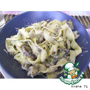 Рецепт Зелeные домашние папарделли с грибным соусом