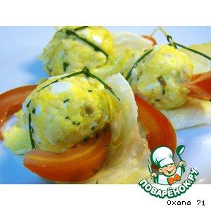 """Рецепт Сырно-яичные трюфели в """"корзине"""" из салатного листа"""