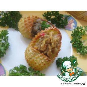 """""""Лапти"""" из картофеля с жареными грибочками и остренькими баклажанами"""