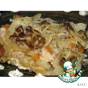 Рецепт Пряный картофель запеченный с курицей и грибами