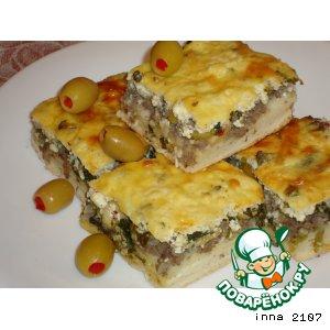 Рецепт Пирог с фаршем, шпинатом и творогом