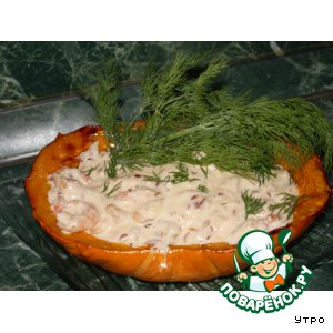 Рецепт Печеная тыква с креветками и сливочным соусом