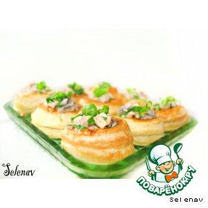 Рецепт Волованы с печенью трески и грибами