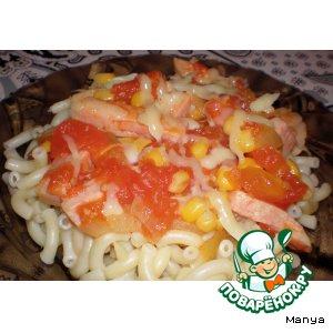 Рецепт Макароны с ветчиной и томатным соусом