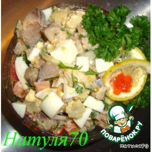 Рецепт Салат с копченой скумбрией