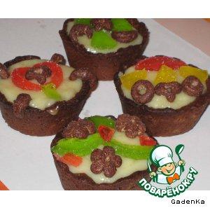 Рецепт Тарталетки шоколадные с мармеладно-рисовым кремом