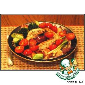 Рецепт Нежное жареное филе грудки курицы с овощами