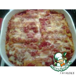 Рецепт Каннеллони с мясной и сырной начинкой в томатном соусе