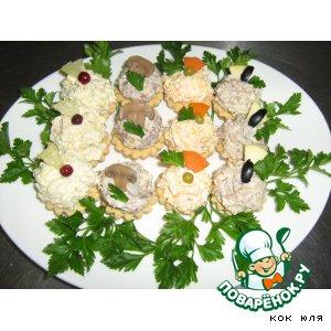 """Рецепт Тарталетки """"Закусочное мясное  ассорти"""""""
