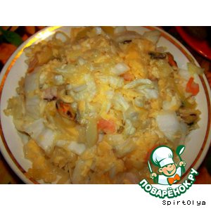 Как готовить Салат с сыром и морепродуктами вкусный пошаговый рецепт приготовления с фотографиями