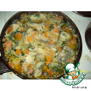 Рецепт Голубой хек с овощами