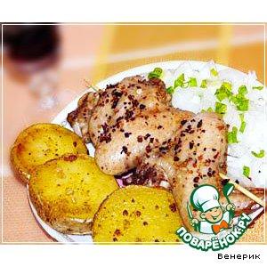 Рецепт Запечeнная картошка и маринованные куриные крылья