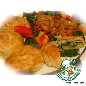 Рецепт Курица, запеченная в духовке, с гарниром из шпината с рикотой в тесте