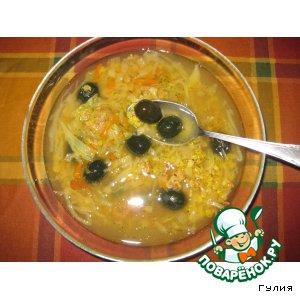 Рецепт Нетрадиционные  кислые щи с чечевицей и оливками