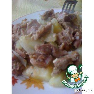 """Рецепт Желудочки куриные с картофелем в """"рукаве"""""""