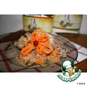 Рецепт Куриная печень в сметано-тыквенном соусе