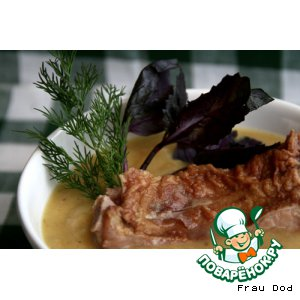 Рецепт Зимний суп-пюре с копчеными ребрами