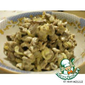 Рецепт Салат из куриных желудочков с шампиньонами