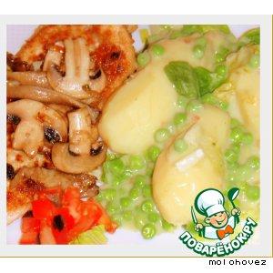 Рецепт Зелeный горошек по-французски с картофелем и салатом