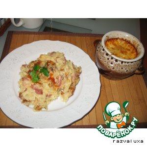 Рецепт Картофельная бабка с грибами, сыром и грудинкой