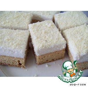 Рецепт Творожно-кокосовое пирожное