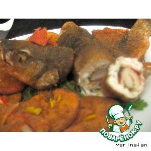 Рецепт Рулеты из рыбы кефаль с жаренными апельсинами