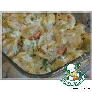 Рецепт Пельмени с овощами, запеченные в сметане