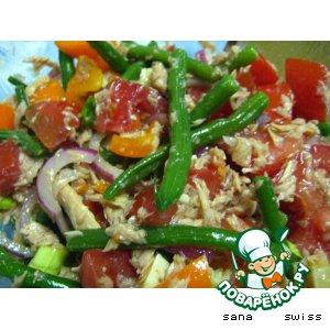 Рецепт Овощной салат с тунцом и зеленой фасолью