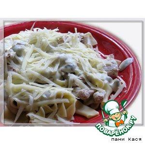 Рецепт Макарончики с курицей и сливочно-грибным соусом