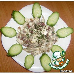 Рецепт Тeпленький грибной салатик