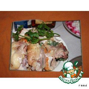 Рецепт Курица, налитая яйцами