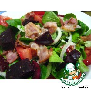 Рецепт Полевой салат с беконом и свеклой