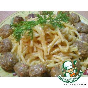 Готовим домашний рецепт с фото Макароны с фрикадельками, тушенные в соусе