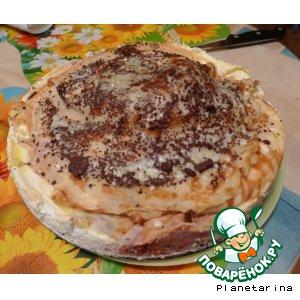 """Рецепт Торт """"Блинная гора с яблоками и творожным кремом"""""""