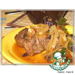 Рецепт Баранина на косточке с черносливом в горшочках