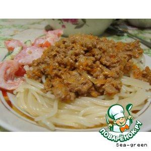 Рецепт Спагетти под ароматным фаршем