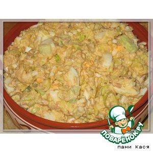 Рецепт Рыбный салат с шафрановым рисом и пореем