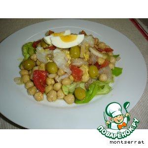 Рецепт Салат из турецкого гороха и соленой трески - ensalada de garbanzos y bacalao
