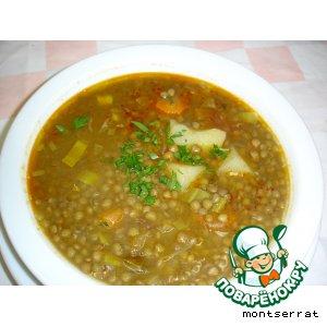 Рецепт Густой суп из чечевицы с копченой грудинкой